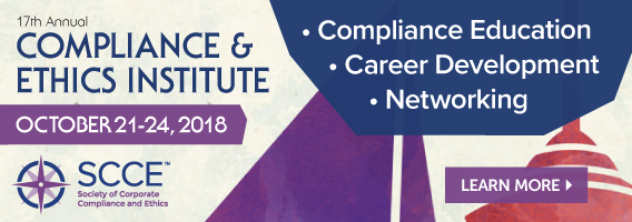 Register for the Compliance & Ethics Institute by June 19 to save! Learn More >