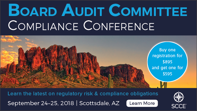 Join us for the Board Audit Committee Compliance Conference   Sept. 24-25 in Scottsdale   Buy one registration for $895, get one for only $595   Learn More >